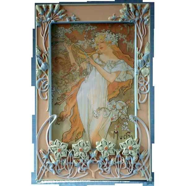 Figurine art mouseion mucha photo frame flowers  muc03 3dMouseion