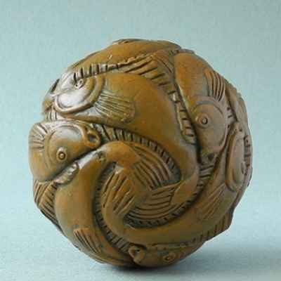 Statuette sphere with fish 3dMouseion -PA11ESC