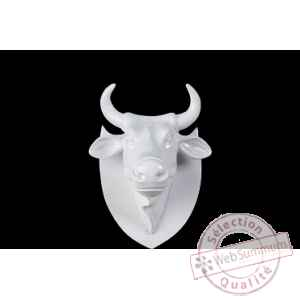 Figurine Trophée vache cowhead white  25cm Art in the City 80997