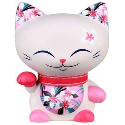 Figurine chat porte bonheur mani the lucky cat rose 11 cm -MLCF035