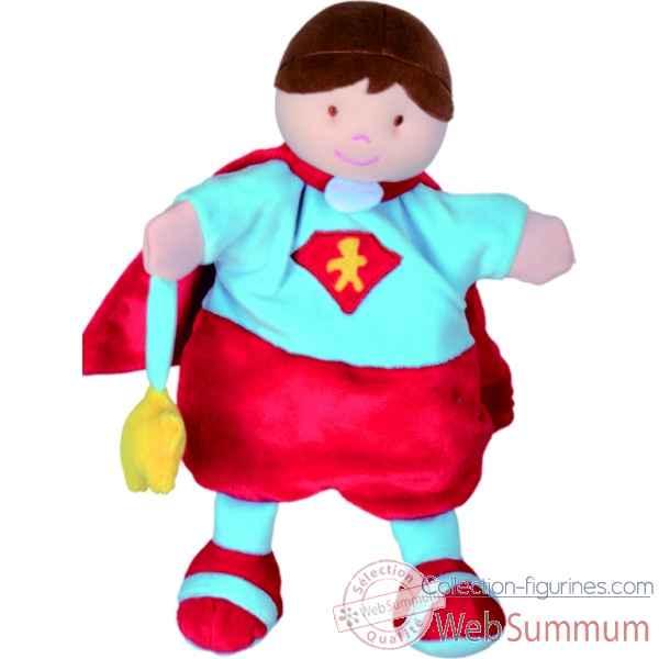 Marionnette Super Heros Cape Rouge Ou Bleu Doudou Et Cie Dc2354