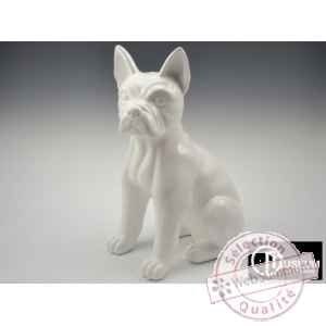 Objet decoration color chien assis blanc 50cm Edelweiss -C9124