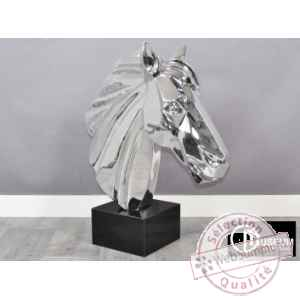 Objet decoration illusion tete cheval design Edelweiss -C8851