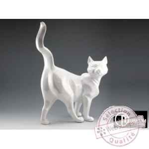 Objet decoration shadow chat blanc nacre Edelweiss -C2031