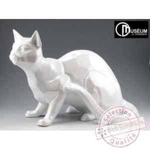 Objet decoration shadow chat blanc nacre Edelweiss -C2033