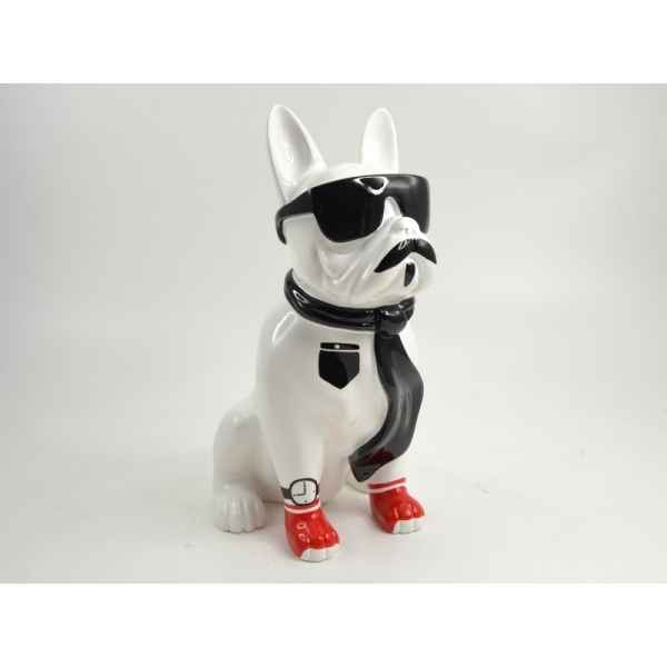 Statuette chien fairy bouledogue blanc cravate Edelweiss -C9321