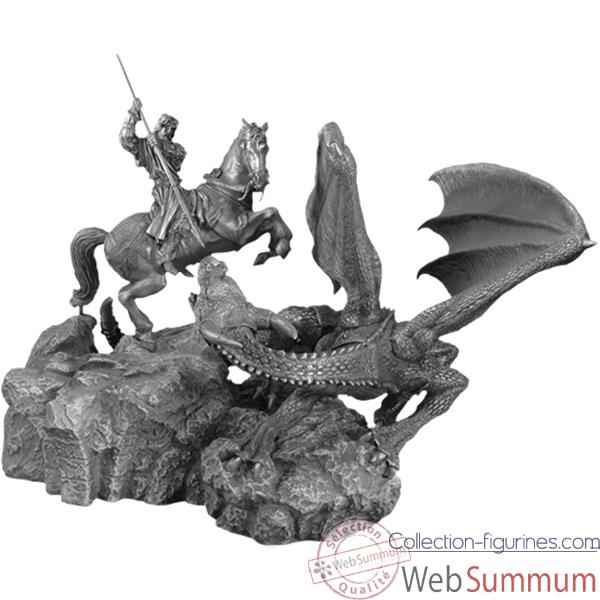 Figurines etains St Georges a cheval combatant le dragon -MA065-MA066