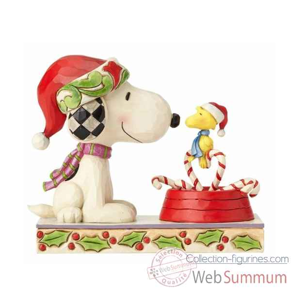 Statuette Candy cane christmas - snoopy et woodstock Figurines Disney Collection -4057678