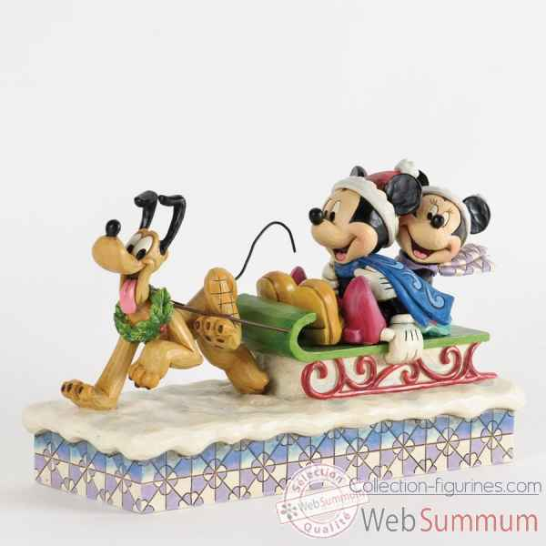 Dashing through the snow mickey, minnie & pluto Figurines Disney Collection -4033264