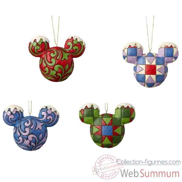 Figurine mickey mouse head hanging ornament set collection disney trad -A29543