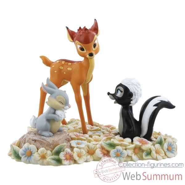 Figurine pretty flower-bambi, thumper and flower collection disney enchante -A28730