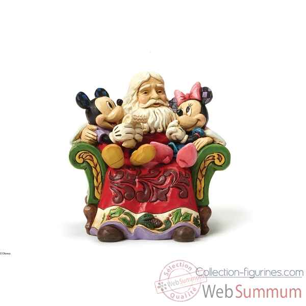 Figurine santa in chair with mickey collection disney trad -4046017