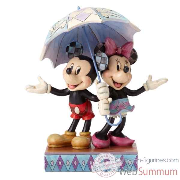 Statuette Mickey et minnie sharing an umbrella Figurines Disney Collection -4054280