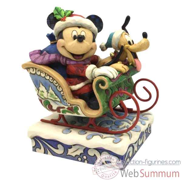 Statuette Mickey in sleigh with reindeer pluto Figurines Disney Collection -4052003