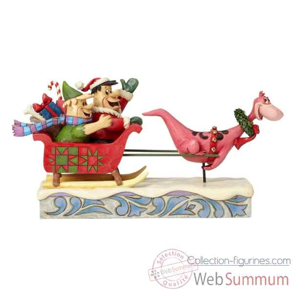 Statuette Pierreafeu yaba daba yuletide - flintstones sleigh ride Figurines Disney Collection -4058331
