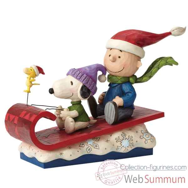Statuette Snow day charlie brown snoopy woodstock Figurines Disney Collection -4052726