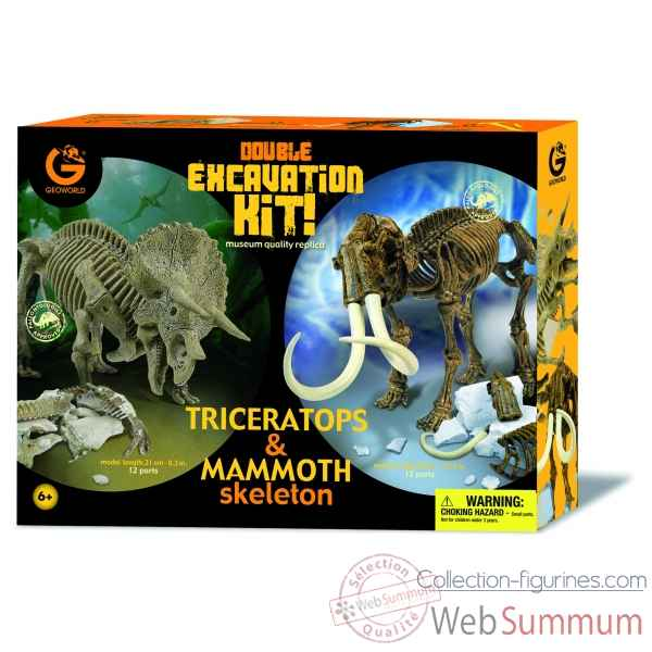Gw dino excav kit  pack duo - triceratops (21cm) & mammouth (26cm) Geoworld -CL167K