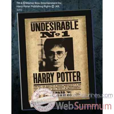 "Plaque ""undesirable n°1\"" harry potter Noble Collection -NN7023"