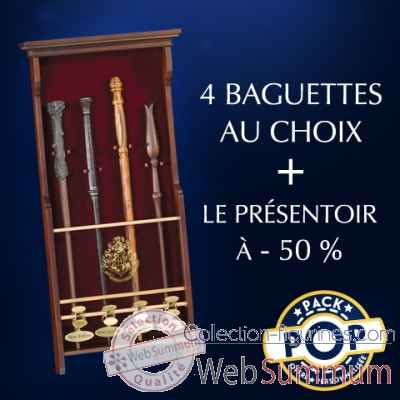 P.o.p 4 baguettes et son presentoir Noble Collection -BUNDLE
