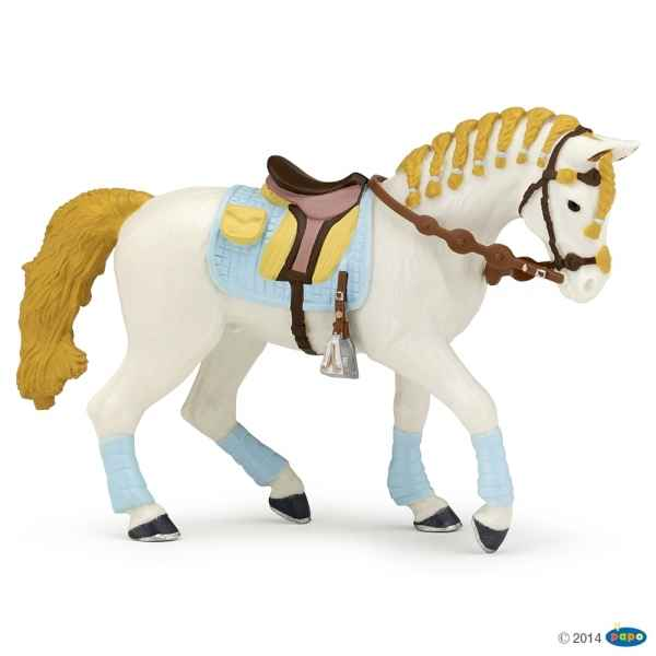 Figurine Cheval de la cavaliere fashion bleue Papo -51545