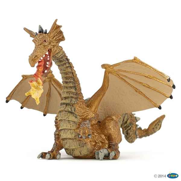 Figurine Dragon or avec flamme Papo -39095