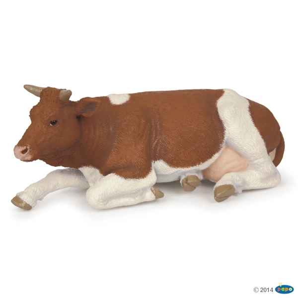 Figurine Vache simmental couchee Papo -51151