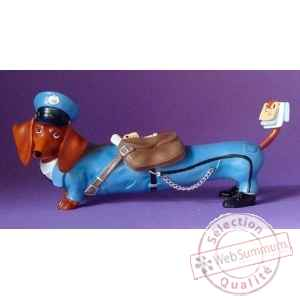 Figurine hot diggity chien teckel mailman  - hot16480