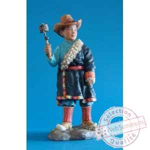 Figurine tibet rabten boy w wheel hat col - tib007