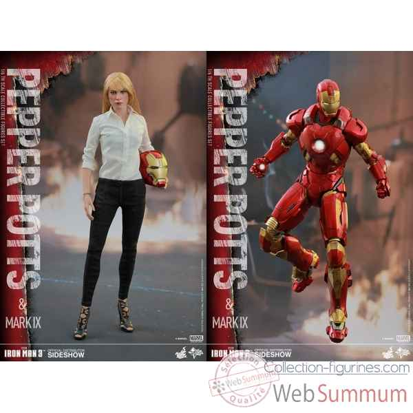 Iron man 3: set figurine pepper potts et mark ix - echelle 1/6 -SSHOT902509