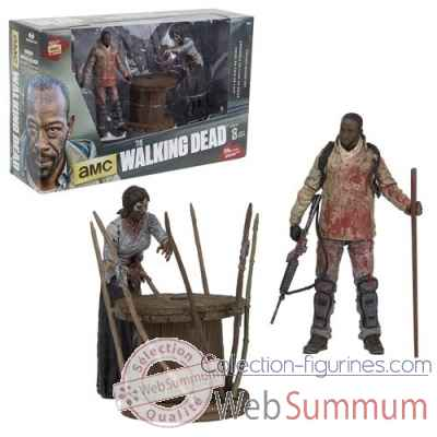 The walking dead: figurine morgan avec zombie empale et piege -MCF14515