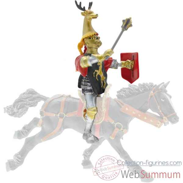 Collection les dragons chevalier cimier cerf, noir et or ( cavalier ou pieton) figurine sans chevalet Figurine Plastoy 62037