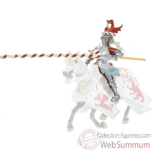 Collection les dragons chevalier cimier dragon, rouge et blanc (cavalier) figurine sans chevalet Figurine Plastoy 62013