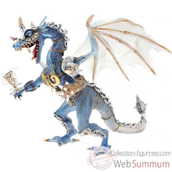Collection les dragons figurine le dragon en armure gris translucide et bleu Figurine Plastoy 60250