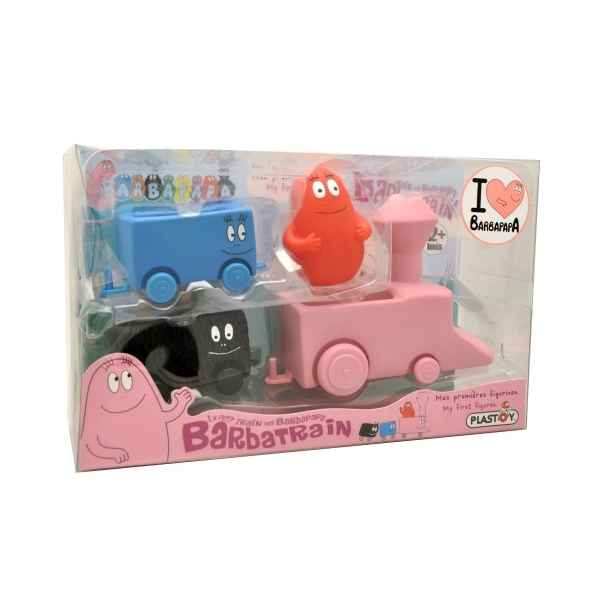 Figurine le train de barbapapa petit pack la loco 2 wagons et 1 figurine urine  Plastoy 60832
