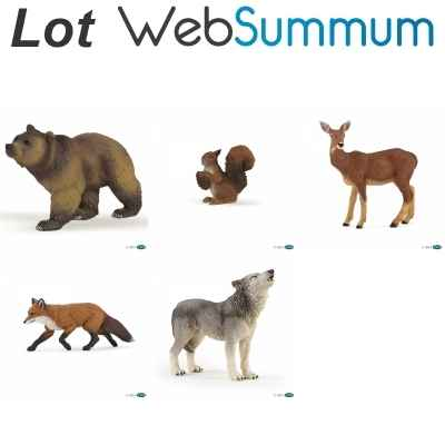 Lot 5 figurines animaux de la foret Papo -LWS-17