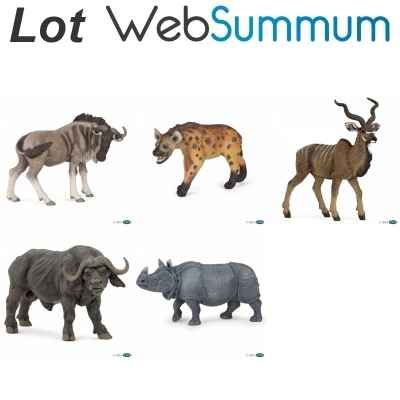 Lot 5 figurines animaux de la savane Papo -LWS-19