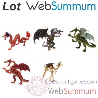Lot 5 Figurines dragon Plastoy -LWS-131