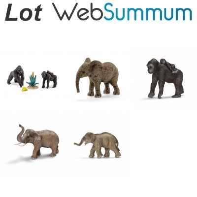 Lot 5 figurines gorille et elephant Schleich -LWS-81