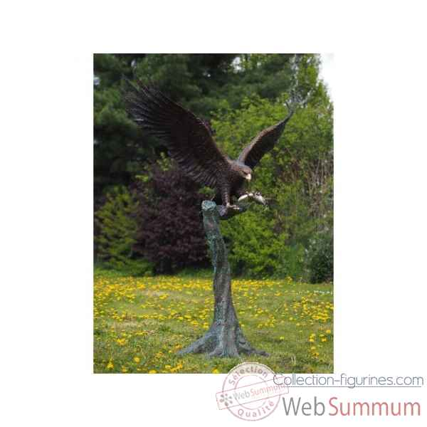 Sculpture grand aigle sur tronc d\'arbre en bronze thermobrass -b1243